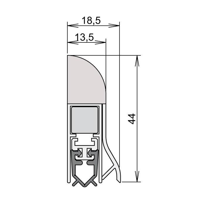 dichtungen onlineshop absenkdichtung wei 860 mm beidseitig verwendbar. Black Bedroom Furniture Sets. Home Design Ideas
